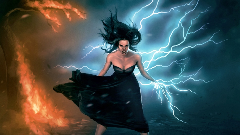 Lightning and Fire Fantasy girl for the journal entry Powerful