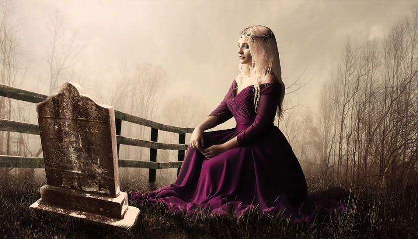 girl purple dress sitting by grave stone good bye nicholas your dead to me