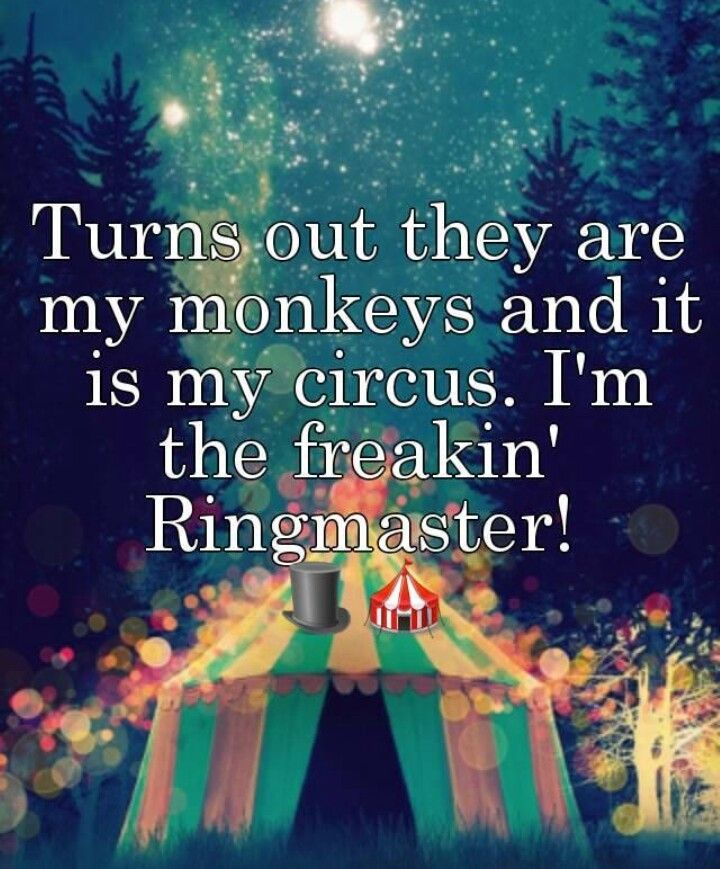 my circus my monkeys i'm freakin ringmaster